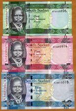SET South Sudan, 1;5;10 Pounds, 2011, Pick 5-6-7, UNC