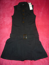 Robe noire ceinturée MORGAN sans manches t. S - Sleeveless black dress with belt