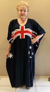 Australian Day Flag Long hand Painted Kaftan Dress  fits 24-34 cool and fun