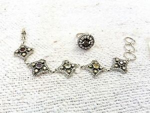 New Stone Fitted Ring & Bracelet 925 Sterling Silver Collectable / Decorative