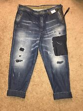 NWT Diesel Carrot Chino Distressed  Denim Jeans Trousers Patched  $328 Size 34