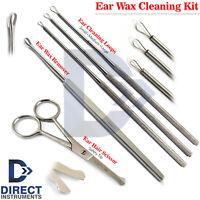 5Pcs Ear Wax Removal Kit Cleaner Ear Pick Curette Loop ENT Hair Remover Scissor