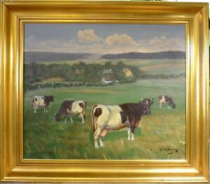 KNUD EDSBERG! LANDSCAPE WITH COWS IN THE FIELD