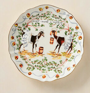 Anthropologie Inslee Fariss 12 Days of Christmas Plate 8 Maids Milking  -1 Plate