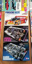 Mercedes C9, Jaguar XJR-9LM, Porsche 962C, Tamiya 1/24 Scale Models w/ Magazines