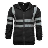HI VIS Tops Safety Jacket Reflective Tape Zipper Up Hoodie Exercise Slim fit