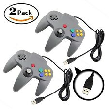 2 Grey Controllers USB PC MAC N64 Nintendo 64 Classic Wired Controller Joypad