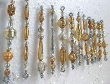 Lovely Set of 12 All Vintage Mercury Glass Garland Bead Tinsel Icicle Ornaments