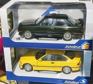 BMW M3 SOLIDO 1/18 E30 schwarz E36 gelb NEU/OVP 2 Stück
