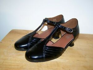 HOTTER Comf.Concept QUICKSTEP T-Bar Black Patent Leather Womens Shoes UK-4 EU-37