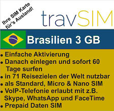 Brasilien Daten SIM Karte 3 GB für 60 Tage Standard/Micro/Nano