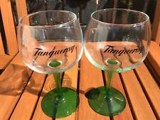 A Pair  Stunning Tanqueray Green Stemmed Gin Balloon Glasses - NEW