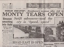 WW2 Newspaper March 27 1945 Monty Tears Open A Gap Patton Daily Mail Wartime