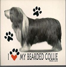 "I Love my Bearded Collie 3 1/2"" X 3 1/2"" Magnet"
