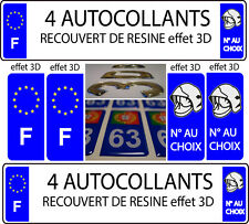 "4 stickers plaque immatriculation auto TUNING DOMING 3D RESINE CASQUE POMPIER""F"""