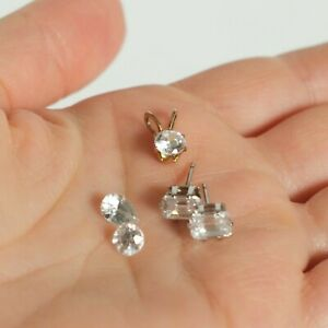 LOT Loose Cubic Zirconia Stones Pear Round and Emerald Cuts Jewelry Making