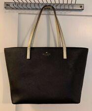 Authentic KATE SPADE Black & Gold Gallery Drive Small Harmony Tote Bag Handbag
