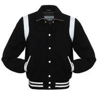 Ayrah BLACK Wool Shirt/ Byron collar Varsity Letterman BOMBER BASEBALL Jacket