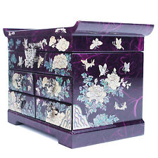 Jewelry boxes Mother Of Pearl Gift Boxes Handmade Korea Antique 4 Drawers Purple