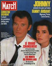 Couverture magazine,Coverage Paris Match 28/03/86 Johnny Hallyday Fanny Ardant