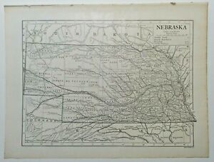 1911 Vintage NEBRASKA Atlas Map Old Authentic Antique Encyclopedia Britannica