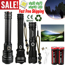 Super Bright XHP90/70/50 LED Flashlight USB Rechargeable Powerful Tactical Torch
