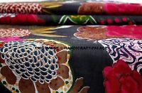 10 Yard Indian Black Hand Block Tropicana Print Cotton Fabric Dressmaking Sewing