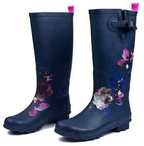 Womens Pull On Floral Galoshes Waterproof Mid Calf Rain Boots Shoes