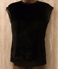 Karen Millen Velvet Front Panel Drape Jersey Black T Shirt Top 8 36