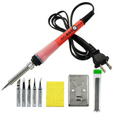 BF802 60W 110V Temperature Adjustable Soldering Iron Kit Solder Gun Tips Stand