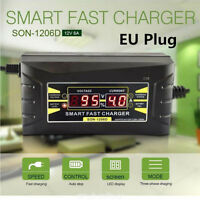 12V 6A Auto caricabatteria batteria veloce automatica rapida LCD Display EU Plug