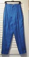 Ann May Cornflower Blue 100% Silk Front Zip Slacks Size 10 NEW WITH TAGS