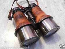 Binoculars Antique Brass Leather Belt Vintage Style Collectible Item