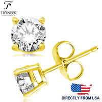 Sterling Silver 925 Gold Plated Brilliant Round Cut CZ Stud Earrings 3MM - 10MM