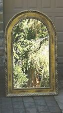 "ANTIQUE ITALIAN LARGE WOOD OVAL TOP GOLT ORNATE FRAME MIRROR 46"" x29"""