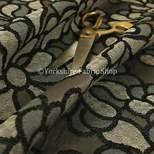New Designer Modern Floral Flower Pattern Black Grey Colour Upholstery Fabric