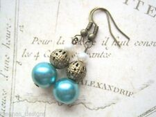Hook Pearl Drop/Dangle Bronze Costume Earrings