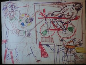 BRUNO VENIER MIXED MEDIA ON PAPER SIGNED