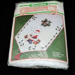 Bucilla Santa's List Felt Table Runner Kit 82658 Vintage Christmas 82658 | 17x42