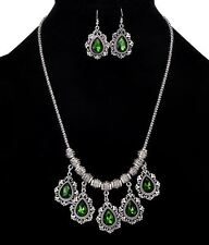 SILVER TONE CHAIN WITH DROP GREEN DROP CHARMS NECKLACE SET