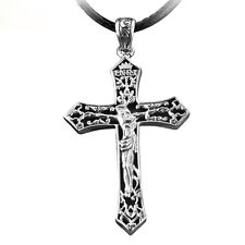Fine Mens Womens Christ Cross 925 Sterling Silver Pendant With Black Rope Chain