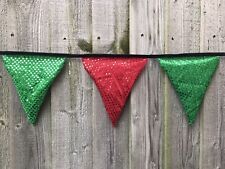 HANDMADE  FLAG BANNER SAINT PATRICK'S DAY SEQUIN BUNTING 10 FLAGS PARTY (2.50m)