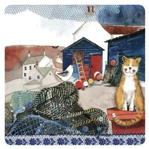 """Alex Clark Cat Kittens Drinks Coaster Table Protector """"Harbour Cat"""" Home Decor"""