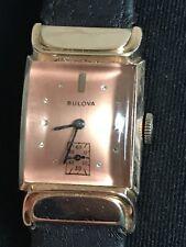 Art Deco Armbanduhr Bulova Rose Zifferblatt 14 K Goldfilled Tonneau