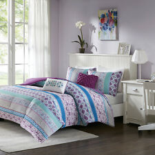 BEAUTIFUL MODERN CHIC PURPLE GREY AQUA TEAL BLUE BOHEMIAN GLOBAL COMFORTER SET
