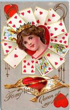 "Embossed VALENTINE ""Queen of My Heart""  Playing Cards Hearts  1910  Postcard"