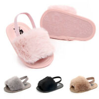 Newborn Baby Girl Sole Crib Shoes Cute Fluffy Fur Non-Slip Slippers Sandals Gift