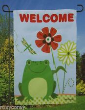 Illusions Welcome Frog Decorative Everyday Garden Flag 12.5X18 Nip