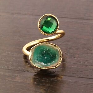 Top Quality Green Quartz Green Geode Druzy Yellow Gold Plated Adjustable Ring