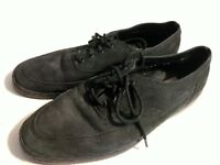 G H BASS Black Leather Lace Up Loafers Boat Shoes Casual Mens Shoes Sz 10.5
